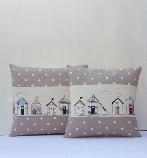 ♥Quality Stunning Handmade Nautical Beach Huts/Sea side Scenery Cushion covers ************************ Features x Varies sizes available. x Exclusive Clarke & ClarkeDotty Taupe& Fryetts Maritimefabrics x Natural coloured Cotton Calico at the back x Buttoned enclosure,3 wooden buttons in Navy,Red and Blue. x Home Sweet Home Ribbon tape sewed with 2 small wooden beads x All inner seams are overocked. x Please see my other items for matching Dotty Denim blue covers x Please note this auction…