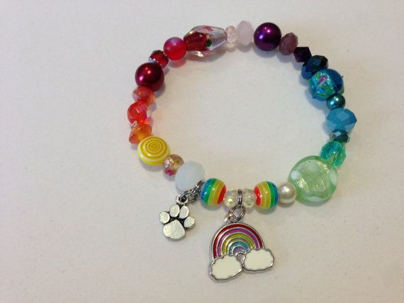 Rainbow Bridge Beaded Bracelet with Rainbow Poem included with donation to one of our partner animal rescues by WhimsicalMystical, $20.00