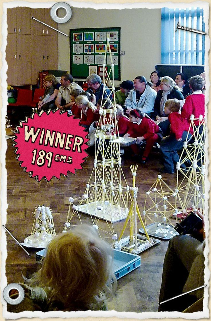 A spaghetti and marshmallow tower shown towering over its competitors at a school science challenge