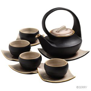 Contemporary Tea Set made in Vietnam from Serrv. I just really love tea sets!