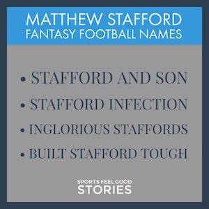 Matthew Stafford Fantasy Football Team Names 2017: Good, Funny & The Best