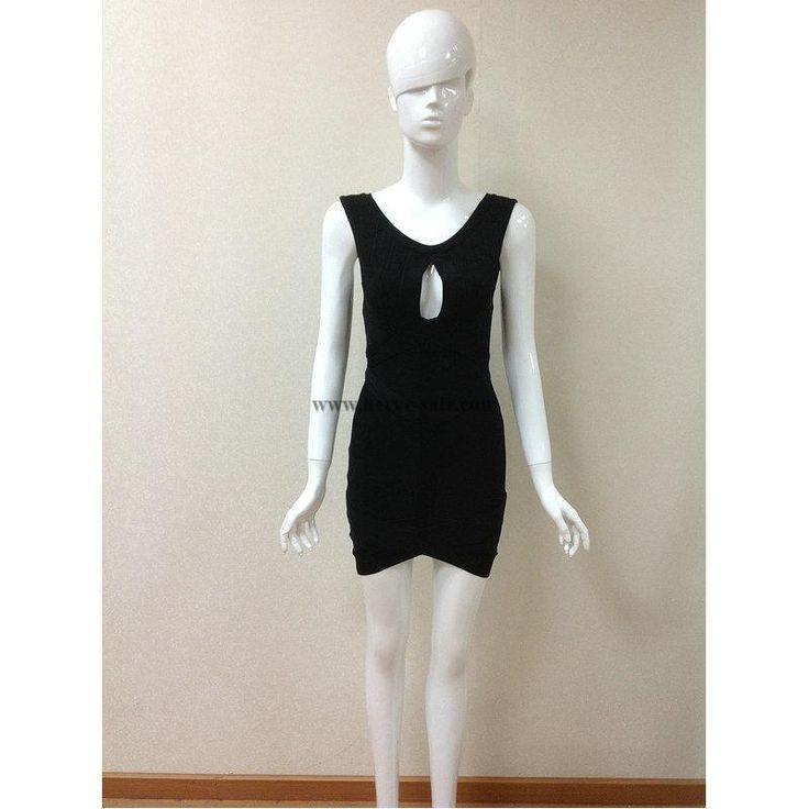 Herve Leger Schwarz Schl��sselloch reizvolle Verband-Kleid H095LB