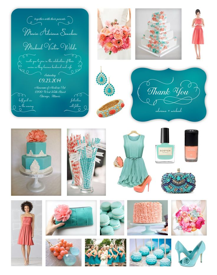 """This Teal & Coral Wedding Inspiration Collage was designed for my """"Viva Amore"""" wedding stationary. I created it with the """"Fashionista Bride"""" in mind — sophisticate…"""
