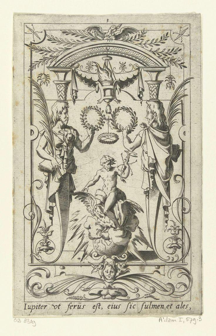 Leonard Thiry | Jupiter, zittend op zijn adelaar met bliksemschichten in de hand, Leonard Thiry, 1551 - 1580 | Onderaan staat een Latijnse tekst. Uit serie van 16 deels genummerde bladen met vlakdecoraties van goden en godinnen in een omlijsting van grotesken met fantastische wezens, dieren, guirlandes en mascarons.