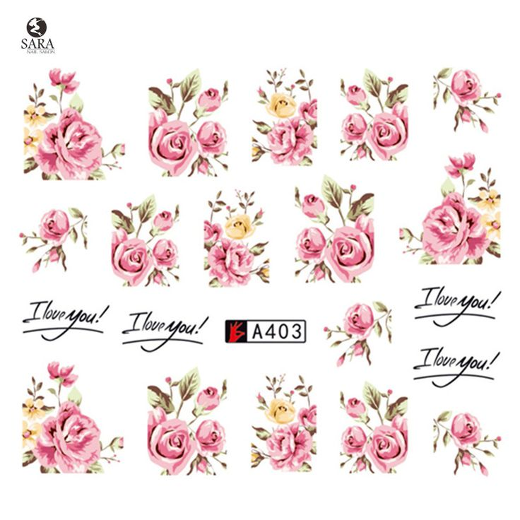 Sara Nail Salon 1pcs New Latest Pink Rose Flower Vine for DIY Nails Toes Decorations Water Transfer Sticker Nail Art Decals A403