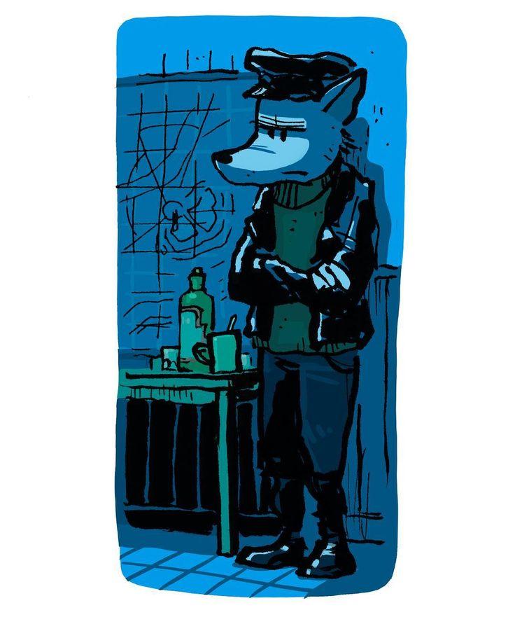 Skipper by Jon Skraentskov Ink on paper Digitally coloured 2016 #illustration