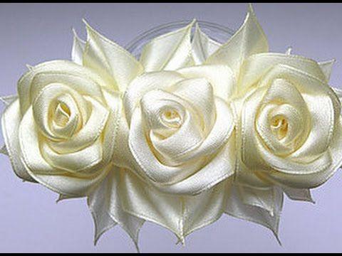 Как сделать розу из лент - YouTube