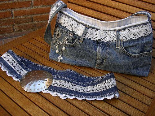 Cartera de jean con pantalones reciclados ~ Portal de Manualidades