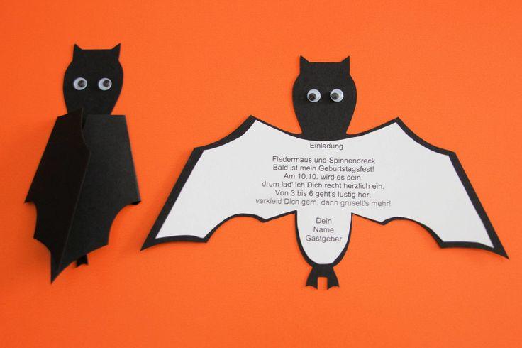Halloween Einladung Fledermaus - zu süß zum Gruseln und darum gerade richtig für die Halloween-Party mit Kindern! Kostenlose Druckvorlage HIER