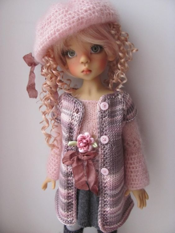 """Hand Knit Doll Outfit Set for 18"""" Kaye Wiggs MSD BJD Miki 