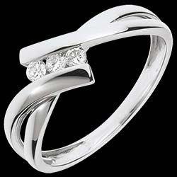 Anillo Saturno Trilogía - oro blanco - 3 diamantes