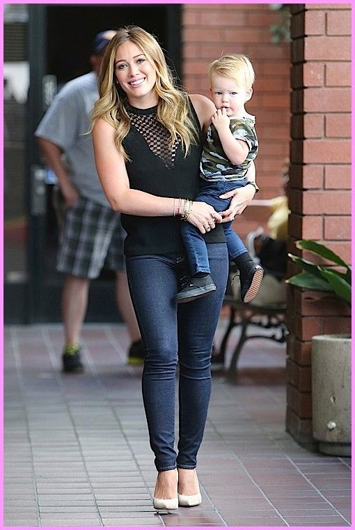 Hilary Duff with her handsome boy! . ♥ Like my pins? Pls share and visit my celebrity site at www.celebritysize... ♥ #celebritysizes #hilary #duff