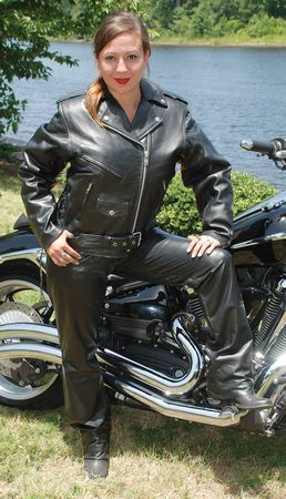 Ladies Leather Motorcycle Jacket with Zip Out Lining