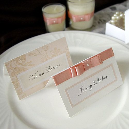 Romantic Wedding Name card / Place card / Escort card (Qty 100) - custom made. £100.00, via Etsy.