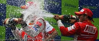 Champagne celebration Every drop of champagne is sprayed on each other, on their team mates, occasionally drunk, but more often it lands on the crowd rather than in the drivers' gullets.  www.the-champagne.ch