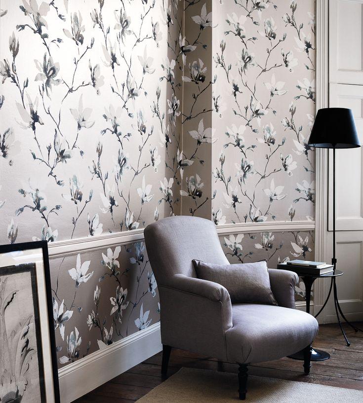 Interior Design Trend, Painterly Florals | Saphira Wallpaper by Romo | Jane Clayton