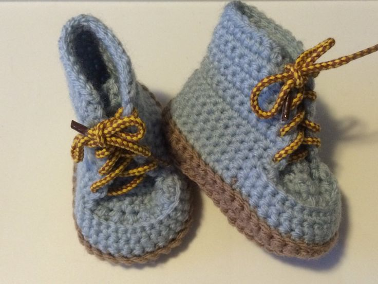 Hand crocheted baby combat boots by FUNwithCROCHETnCLAY on Etsy