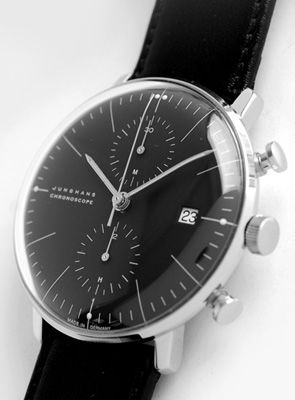 Junghans Max Bill - the minute hand bends to follow the curvature of the glass