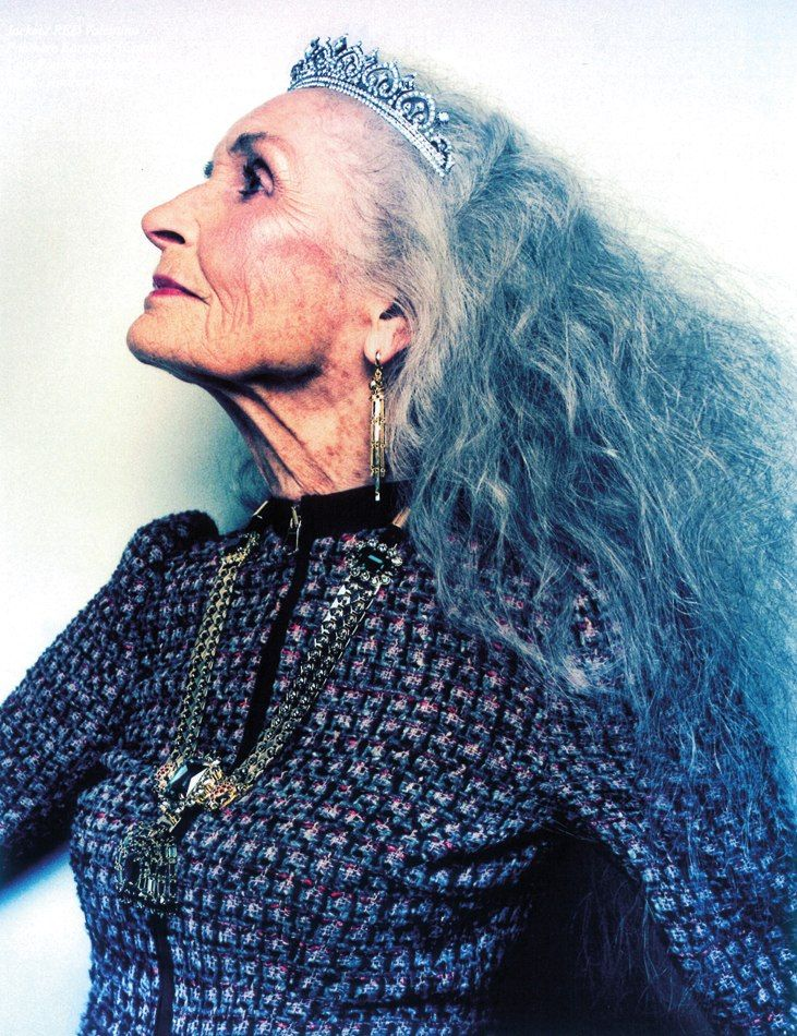 Worlds oldest supermodel 85 year-old Daphne Selfe. At the age of 70, she appeared in Vogue. The high-cheekboned British beauty, who still gets paid top dollar to pose for fashion houses like Moschino and Dolce & Gabbana, credits good genes, her long silver hair and a willingness to resist the surgeon's knife.