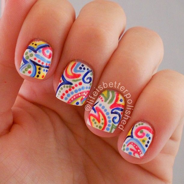 Paisley Nail Art: Best 20+ Multicolored Nails Ideas On Pinterest