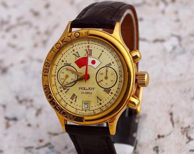 Полет часы мужские ювелирные изделия советские часы редкие винтажные часы хронограф, кожаные наручные часы подарок для него часы механические мужские СССР часы