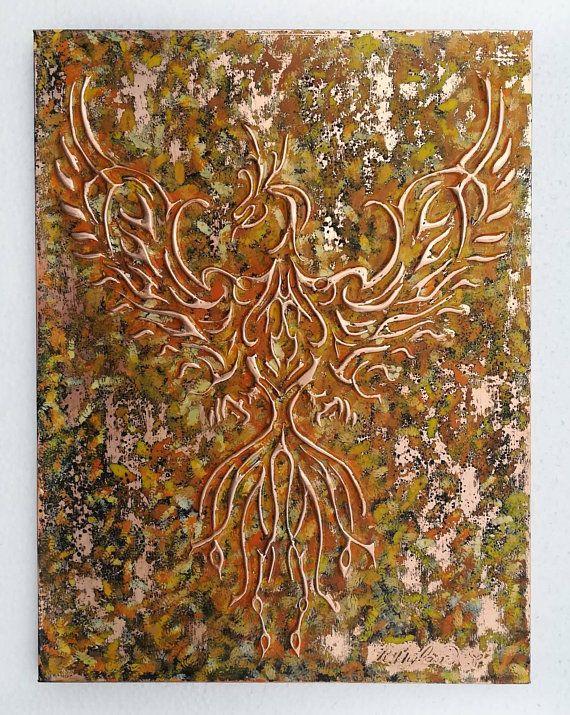 Copper Phoenix Bird Metal Wall Art Flames Home Decor Etsy Copper Wall Art Metal Wall Art Metal Walls