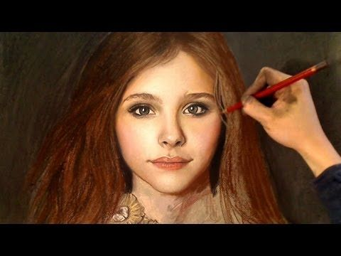 """Chloe Grace Moretz Full Color Pastel Portrait Drawing Video. Really helpful to see the transformation. Looks like the trick to a portrait like this is lots of layers and hours and hours of work past the point when it looks """"good enough."""""""