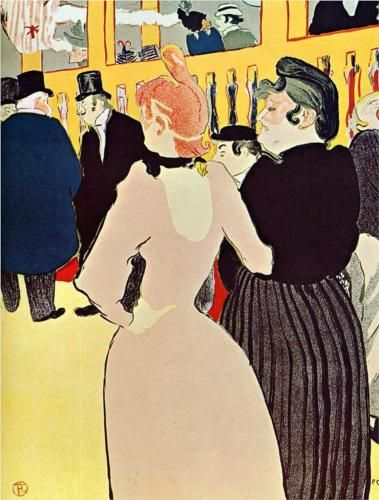At the Moulin Rouge, La Goulue with Her Sister - Henri de Toulouse-Lautrec