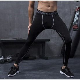 Mens compression pants bodybuilding jogger fitness exercise