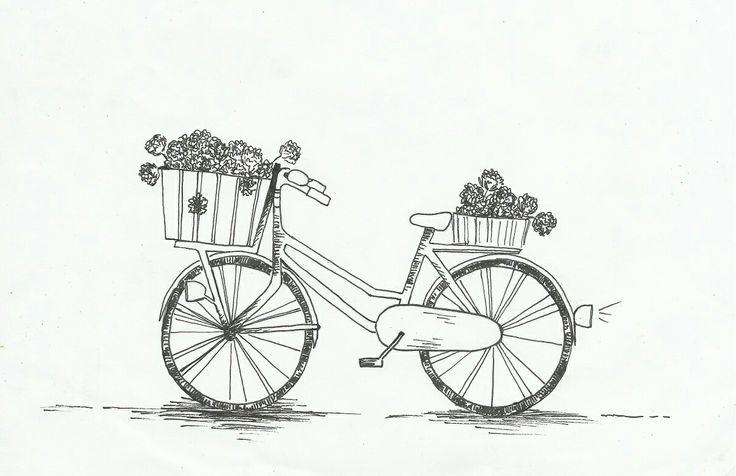 """Illustratie """"fiets met pioenrozen"""" door vera vos"""
