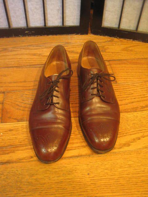Vintage Bally Shoe Mens Brown Shoes 9.5 Brogue Tie 9 1/2 D Medium Made in Switzerland