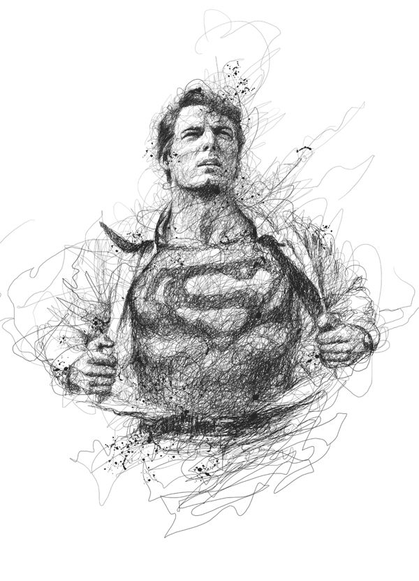 superman drawing Incredible Scribbled Pencil Drawings of Musicians & Super Heroes