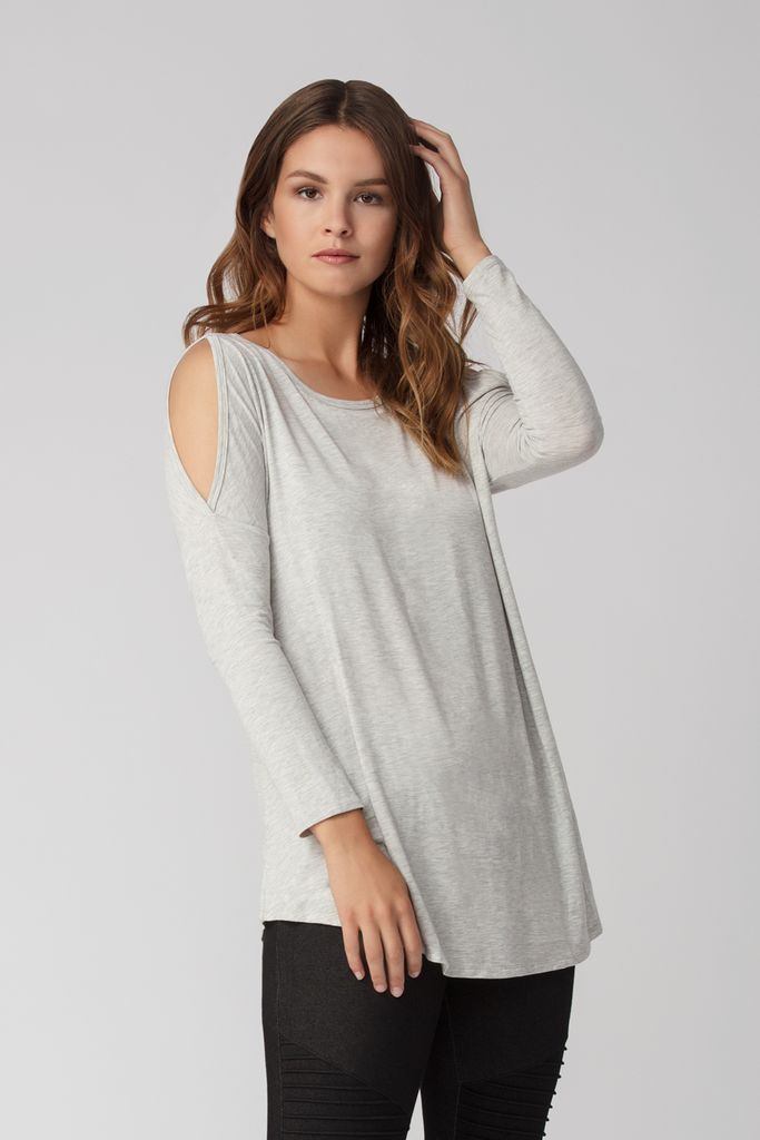 Womens Organic Bamboo Viscose Tops in Grey Melange - LNBF Sustainable Clothing Designed in Canada
