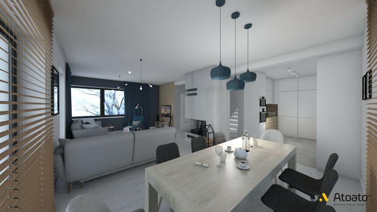 #atoato.pl #interior #design #modern #style #livingroom #dinnigroom #wood #colors #projektywnętrz #pasja #wnętrza #salon #biel #granat