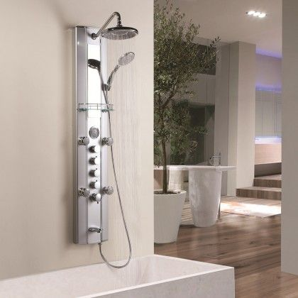Multi Function Thermostatic Shower Tower Massage Panel With Over Head Shower,  Handset, 5 Body Sprays Jets And Tub Faucet   Vanity Shelf Included    Complete ...
