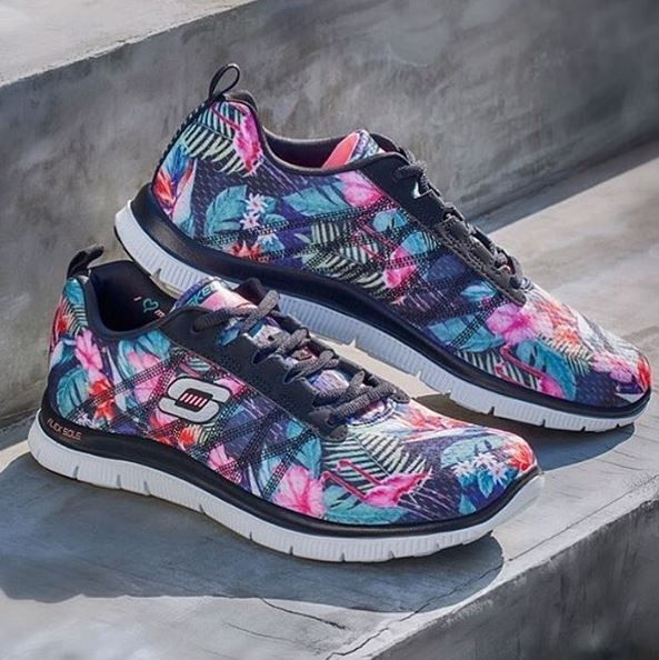 A step above. The perfect addition to any summer wardrobe - Skechers Flex Appeal in a pretty perfect print. http://spr.ly/6008BQyO2