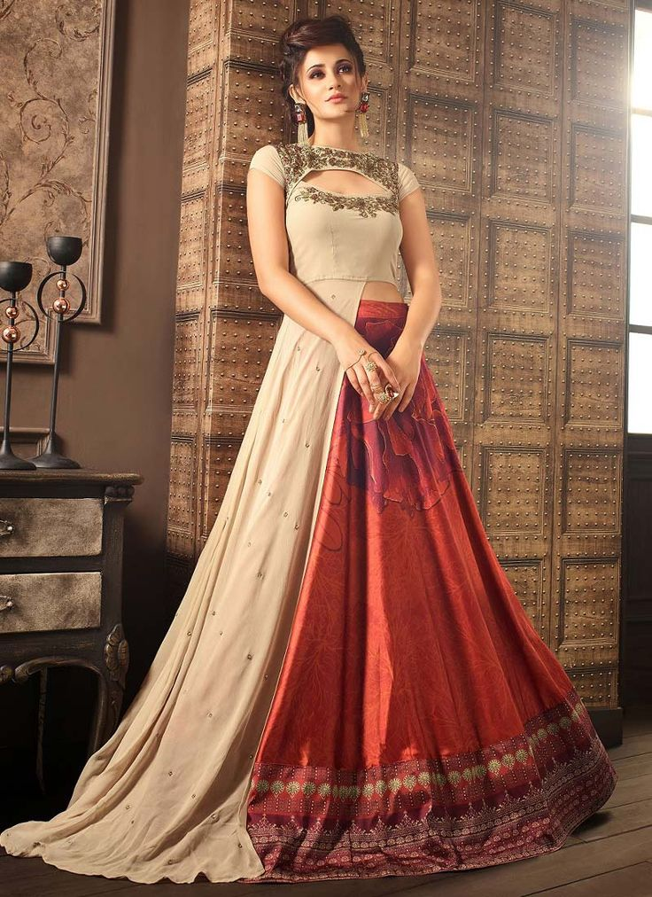 Buy Beige Georgette A Line Lehenga online, SKU Code: GHSCC41001. This Beige color Party a line lehenga for Women comes with Embroidered Faux Georgette. Shop Now!