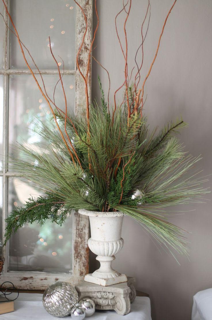 Christmas greens in vintage urn