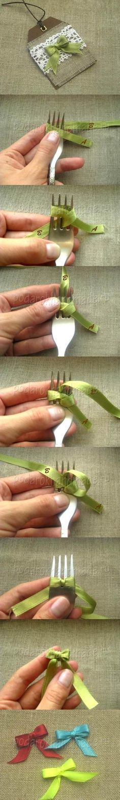 DIY BOW : DIY Satin Ribbon Bow with a Fork. Did these using the fine ribbon found in bought clothes to keep them on the hanger.  Worked a treat!