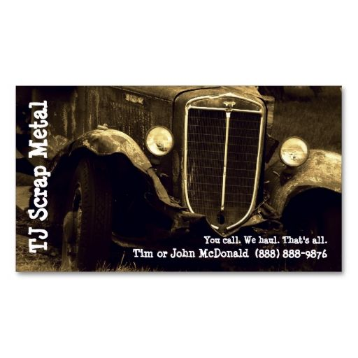 Scrap Metal Recycling and Garbage Pickup Business Cards. This is a fully customizable business card and available on several paper types for your needs. You can upload your own image or use the image as is. Just click this template to get started!