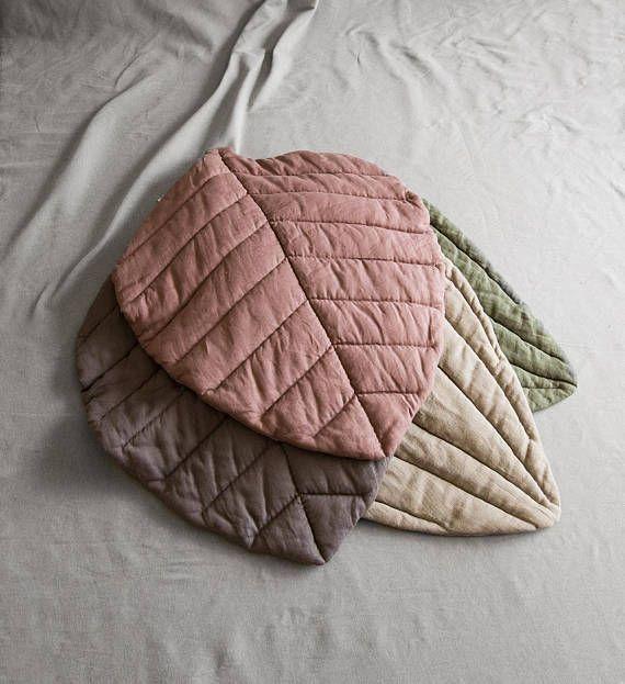 Baby mat linen blanket linen leaf mat playmat rug mat nursery boy mat girl mat padded linen pillow embroidered kids room decor gift kid