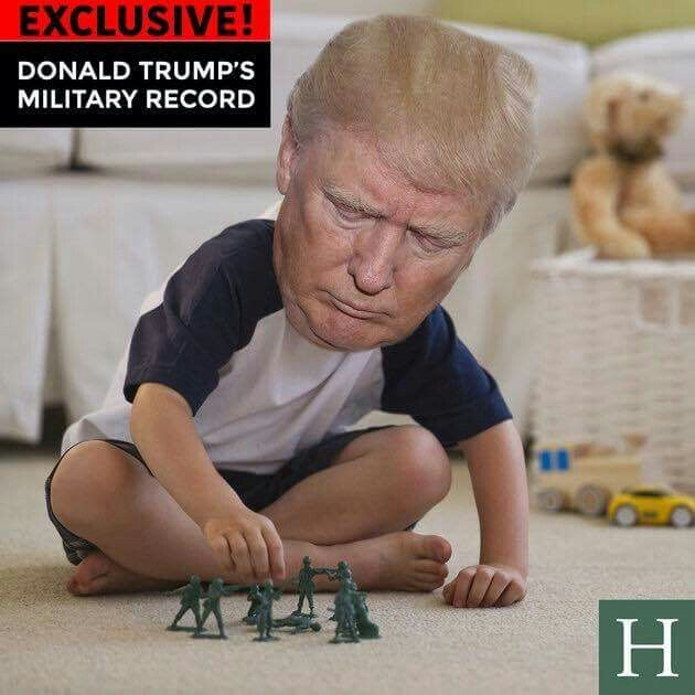 I really don't care if a Presidential candidate served in the Armed Forces or not. I don't think it's a make-or-break issue as many do. HOWEVER this image is right on target. The man acts like Terrible Two's do, yelling, raging, selfish, lashing out, I want it MY WAY & RIGHT NOW. It's developmentally appropriate for two year olds. Not so much for the supposedly adult village (read Nation) idiot. Sheesh. This clown has got to go. The rest of the world thinks we're all idiots for allowing…