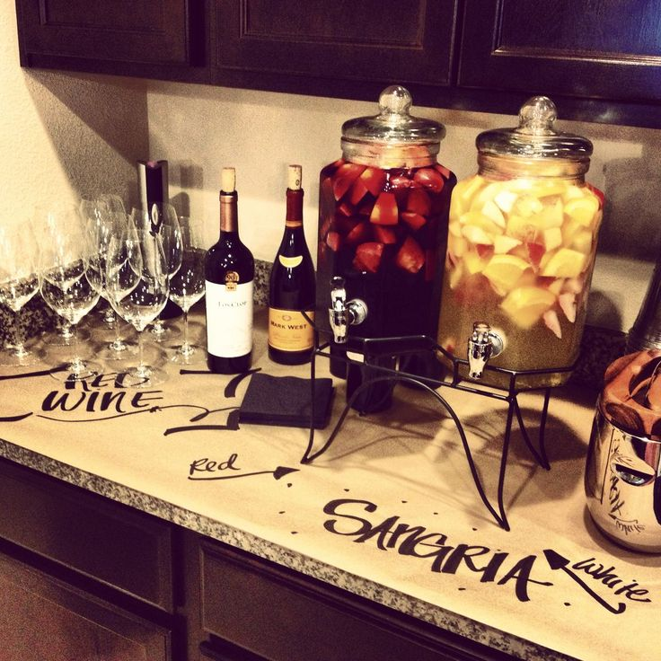 Homemade Sangria and love the kraft paper so counters and tables aren't getting dirty!