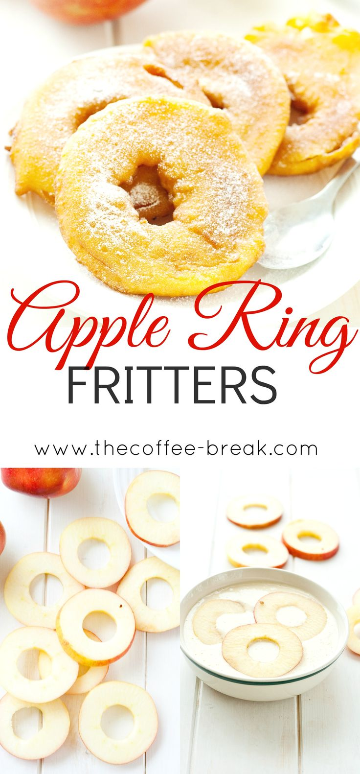 Apple Ring Fritters    www.thecoffee-break.com #applefritters #treat #apples