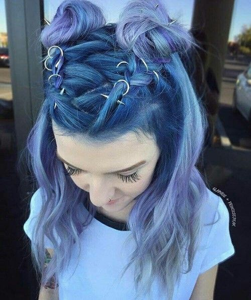 Imagem de hair, hairstyle, and blue