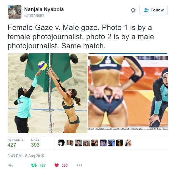 female gaze vs. male gaze #Olympics #OlympicSexism #Feminism
