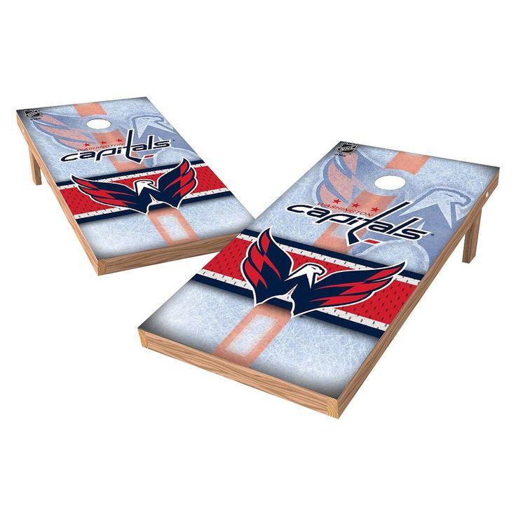 NHL Wild Sports Shield Cornhole Bag Toss Set - 2x4 ft. - Washington Capitals