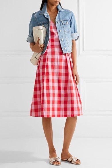 Draper James   Cutout gingham cotton-poplin dress   NET-A-PORTER.COM