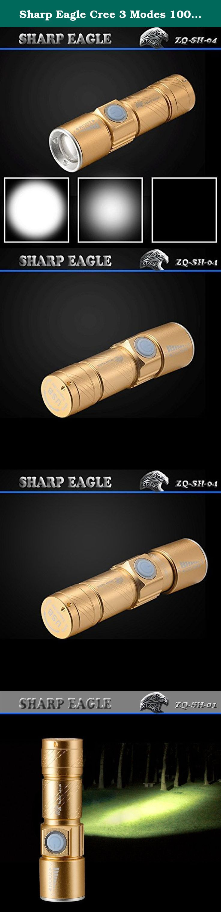 Sharp Eagle Cree 3 Modes 1000lm Rechargeable LED Flashlight Gold- Neutral White Light. Model: SHARP EAGLE ZQ-SH-04 Color: Black Material: Aluminum Lamp beads: CREE XML-XPE Lamp beads: 1 Lumen: 600LM Gear mode: 3 (strong, weak, strobe) Battery Type: Built-in battery Run time: 2-4 hours Whether the focus: Be Waterproof grade: IPX5 (Anti-rain, spill-resistant water) Product Weight: 70g Package weight: 80g Product Size: 9.5 * 2.5 * 2CM Package Size: 11 * 4 * 4CM products include: 1…