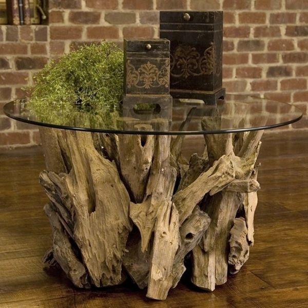 Treibholz Tisch Couchtisch Bauen Glas Rund